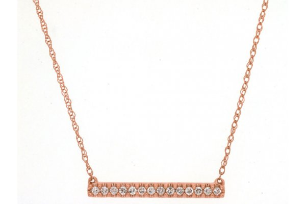 Large image of Royal Jewelry 14K Rose Gold Diamond Bar Necklace - PH1145D