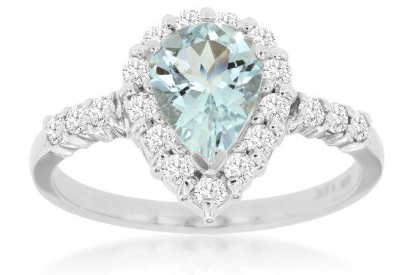 Large image of Royal Jewelry 14K White Gold, Aquamarine & Diamond Ring - W3826Q