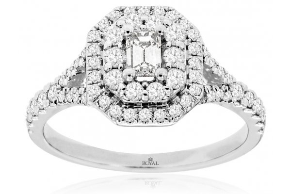 Large image of Royal Jewelry 14K White Gold Diamond Engagement Ring - WC9955D
