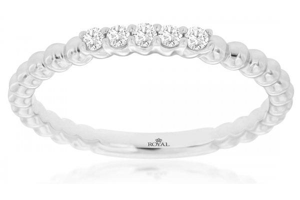 Large image of Royal Jewelry 14K White Gold Diamond Wedding Band - WC9482D
