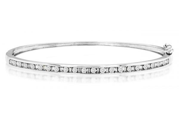 Large image of Royal Jewelry 14K White Gold, Diamond Bangle - WC9591D