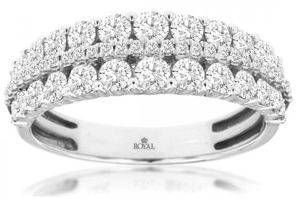 Large image of Royal Jewelry 14K White Gold Diamond Wedding Band - WC9317D