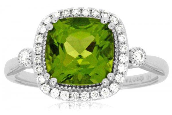 Large image of Royal Jewelry 14K White Gold Peridot & Diamond Ring - WC7496X