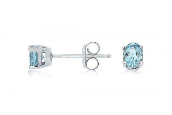 Large image of Royal Jewelry 14K White Gold Aquamarine Earrings - WE3342Q