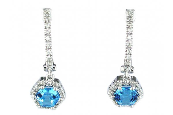 Large image of Royal Jewelry 14K White Gold Blue Topaz & Diamond Earrings - WC3219B