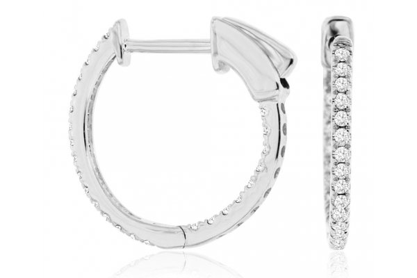 Large image of Royal Jewelry 14K White Gold Diamond Earrings - WC9815D
