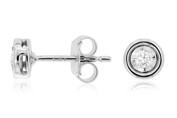 Large image of Royal Jewelry 14K White Gold Diamond Earrings - WC9886D