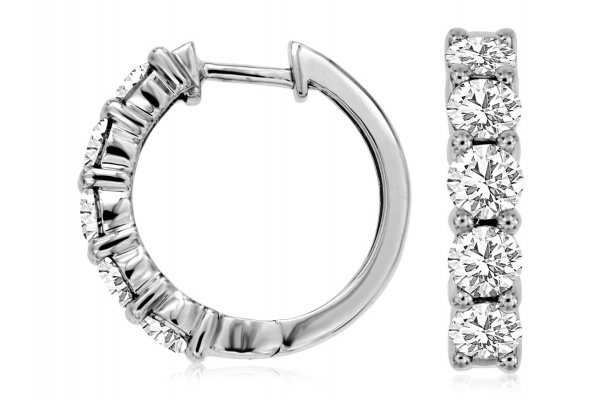 Large image of Royal Jewelry 14K White Gold Diamond Hoop Earrings - WC8029D