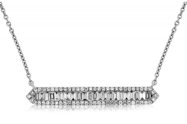 Large image of Royal Jewelry 14K White Gold Diamond Necklace - WC8144D