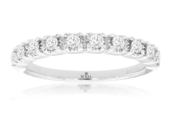 Large image of Royal Jewelry 14K White Gold Diamond Wedding Band - WC9331D
