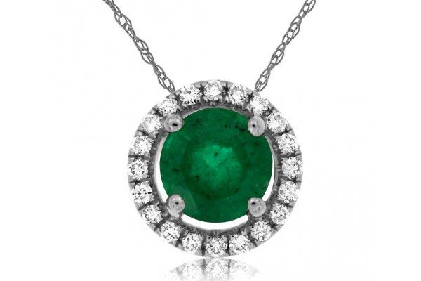 Large image of Royal Jewelry 14K White Gold Emerald & Diamond Pendant - WC7938E