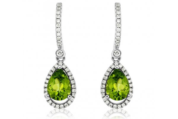 Large image of Royal Jewelry 14K White Gold Peridot & Diamond Earrings - WC6407X