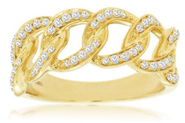 Large image of Royal Jewelry 14K Yellow Gold Diamond Wedding Band - C9019D