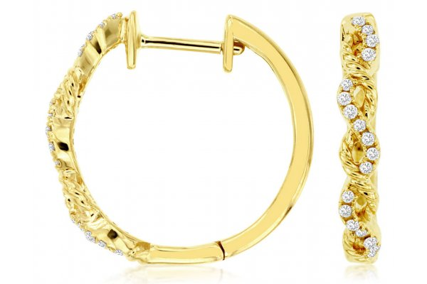 Large image of Royal Jewelry 14K Yellow Gold, Diamond Hoops - C9091D