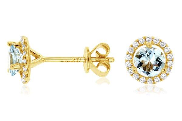 Large image of Royal Jewelry 14K Yellow Gold Aquamarine & Diamond Earrings - C6404Q