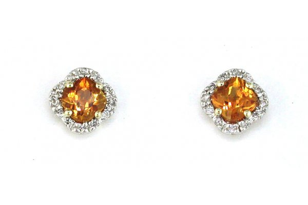 Large image of Royal Jewelry 14K Yellow Gold Citrine & Diamond Earrings - C3222C