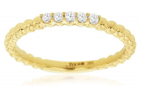 Large image of Royal Jewelry 14K Yellow Gold Diamond Wedding Band - C9482D