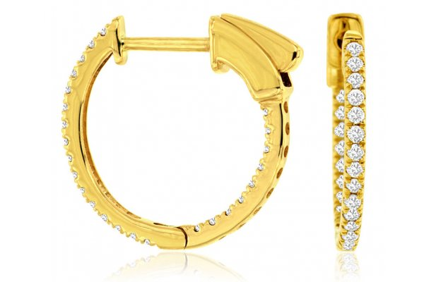 Large image of Royal Jewelry 14K Yellow Gold Diamond Earrings - C9815D