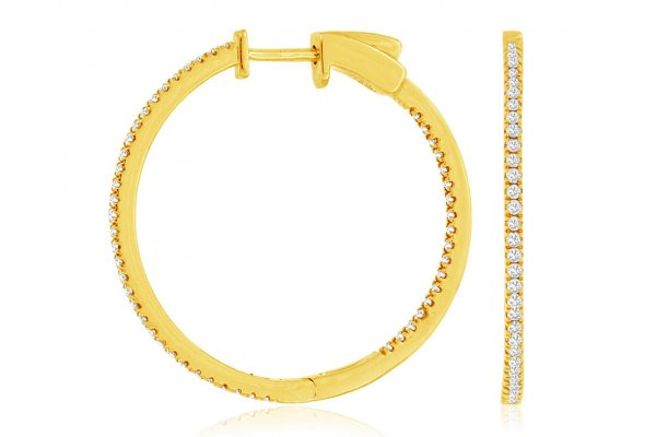 Large image of Royal Jewelry 14K Yellow Gold Diamond Hoop Earrings - C9808D