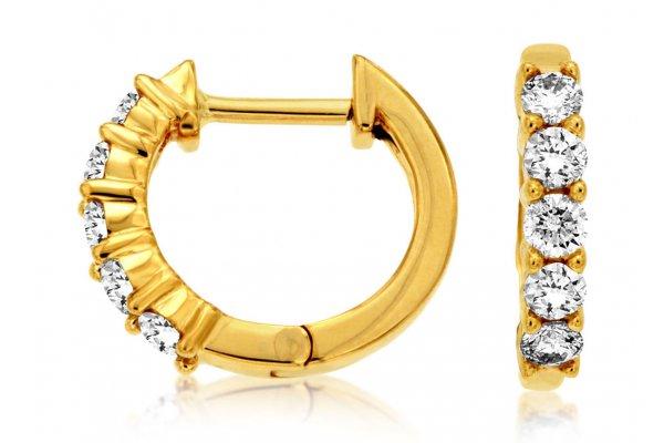 Large image of Royal Jewelry 14K Yellow Gold Diamond Hoop Earrings - C8030D