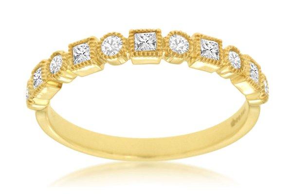 Large image of Royal Jewelry 14K Yellow Gold Diamond Wedding Band - C8438D
