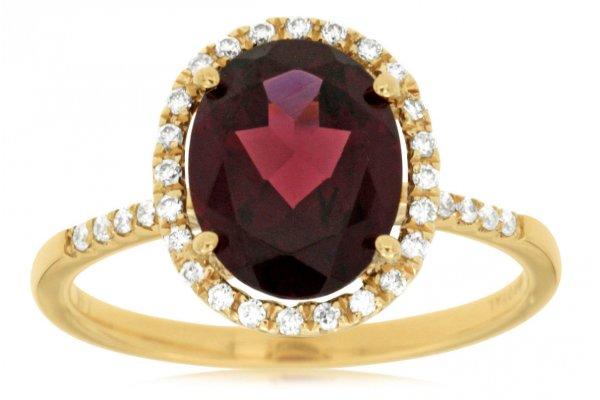 Large image of Royal Jewelry 14K Yellow Gold Garnet & Diamond Ring - C4522G