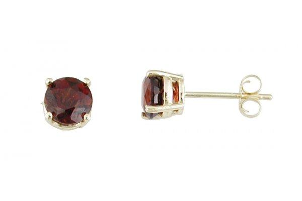 Large image of Royal Jewelry 14K Yellow Gold Garnet Earrings - E3770G