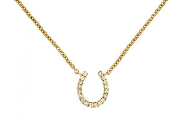 Large image of Royal Jewelry 14K Yellow Gold Diamond Hourseshoe Necklace - C6746D