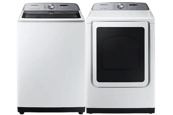 Large image of Samsung White Top Load Washer with Gas Steam Dryer - SAMALAUNDRY10
