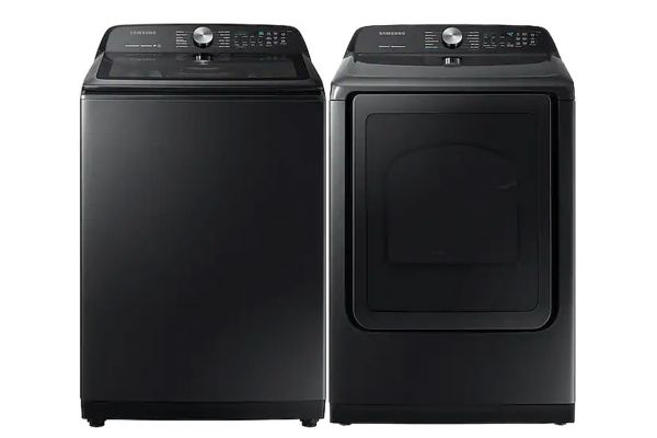Large image of Samsung Black Stainless Top Load Washer with Gas Steam Dryer - SAMALAUNDRY9