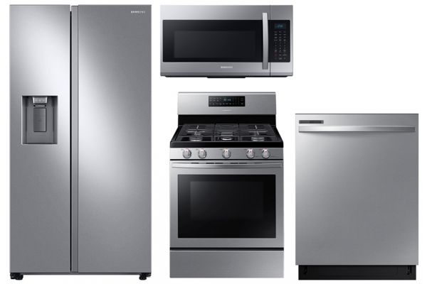 Large image of Samsung 27.4 Cu. Ft. Side-By-Side Refrigerator With Gas Range Package - SAMAPACK11