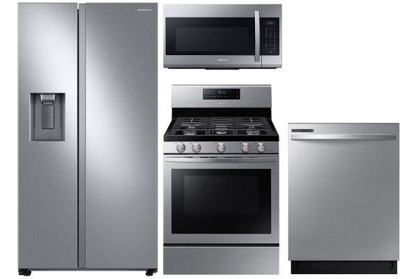 Large image of Samsung 22 Cu. Ft. Side-By-Side Refrigerator With Gas Range Package - SAMAPACK12