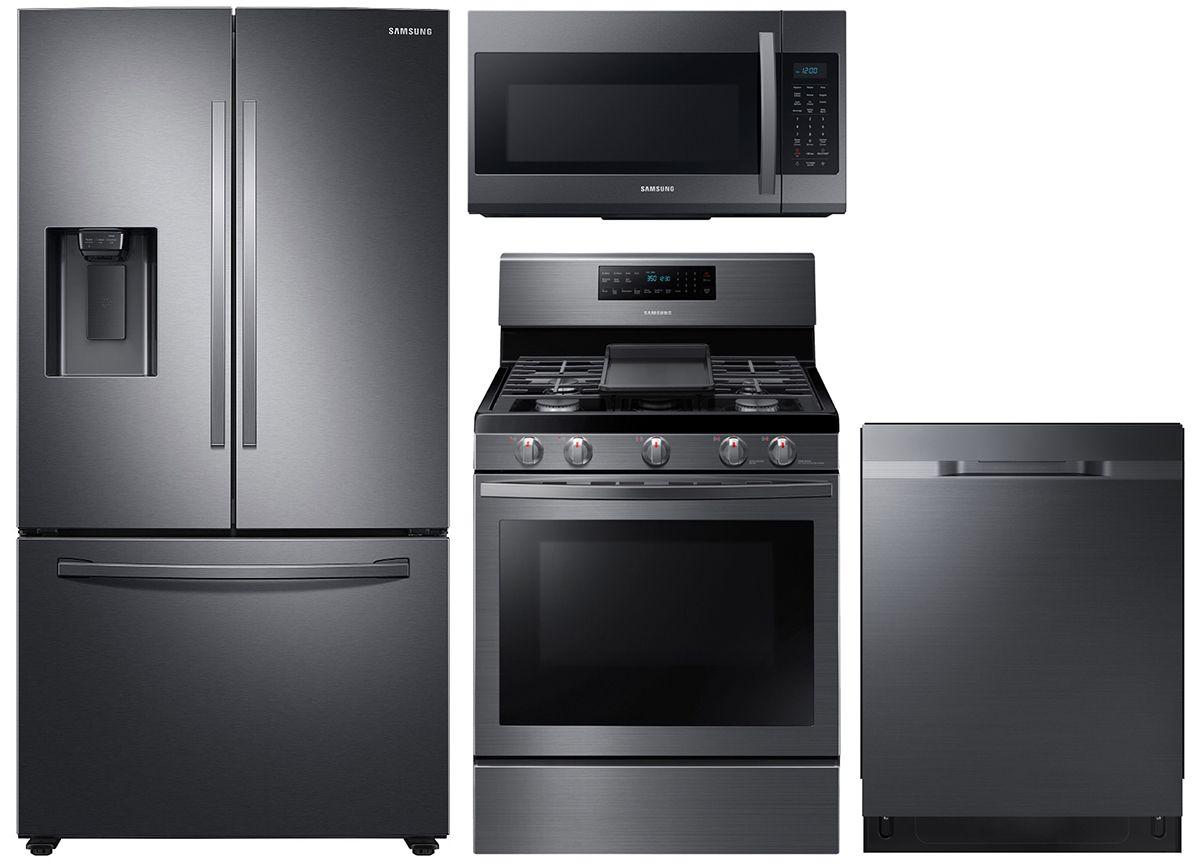 Samsung 27 Cu Ft Fingerprint Resistant Black Stainless Steel French Door Refrigerator With Gas Range Package