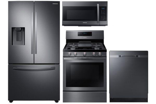 Samsung 27 Cu. Ft. Fingerprint Resistant Black Stainless Steel French Door Refrigerator With Gas Range Package - SAMAPACK7
