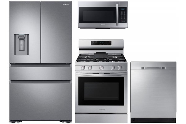 Large image of Samsung 22.68 Cu. Ft. Stainless Steel Counter-Depth 4-Door Refrigerator With Gas Range Package - SAMAPACK8