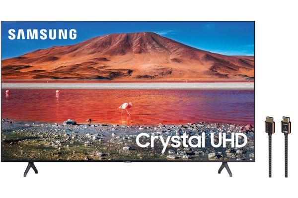 "Samsung 65"" TU7000 Titan Gray Crystal UHD 4K Smart HDTV with HDMI Cable Package - SAMSPACK1"