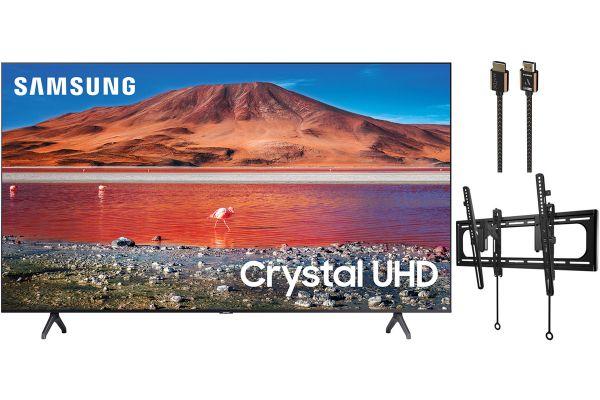 "Samsung 70"" TU7000 Titan Gray Crystal UHD 4K Smart HDTV, TV Mount and HDMI Cable Package - SAMSPACK2"