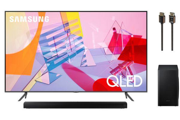 "Samsung 65"" Q60T Titan Gray QLED 4K UHD Smart HDTV, Soundbar and HDMI Cable Package - SAMSPACK7"