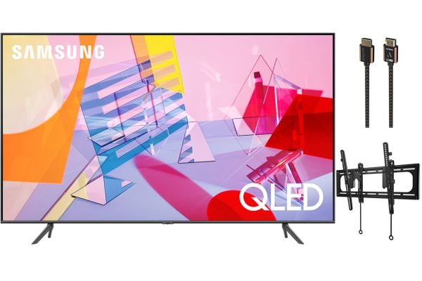 """Samsung 75"""" Q60T Titan Gray QLED 4K UHD Smart HDTV, TV Mount and HDMI Cable Package - SAMSPACK8"""