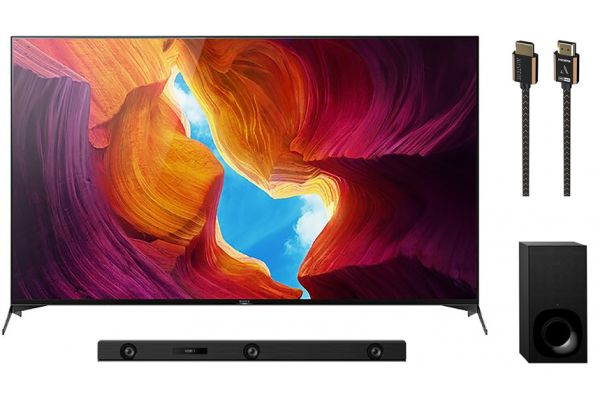 """Sony 85"""" X950H Black LED 4K UHD HDR Smart HDTV, Soundbar and HDMI Cable Package - SONYPACK7"""
