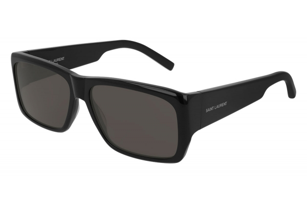 Large image of Saint Laurent Black Rectangular Unisex Sunglasses - SL366LENNY001