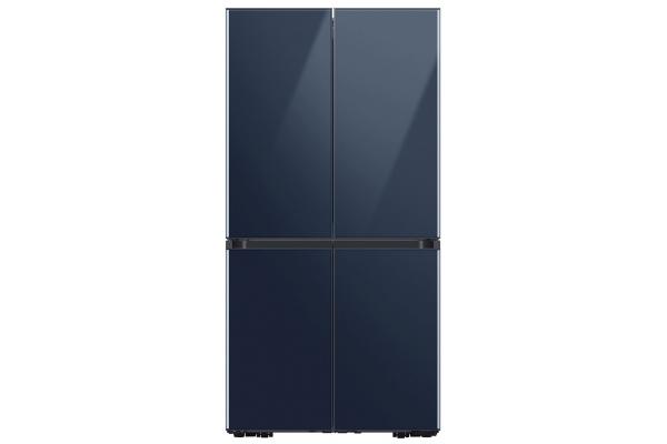 Large image of Samsung 23 Cu. Ft. Navy Glass Smart Counter-Depth BESPOKE 4-Door Flex Refrigerator - RF23A967541/AA