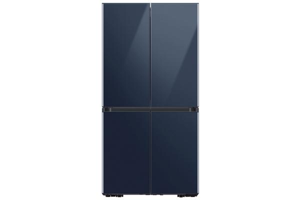 Large image of Samsung 29 Cu. Ft. Navy Glass Smart BESPOKE 4-Door Flex Refrigerator - RF29A967541/AA
