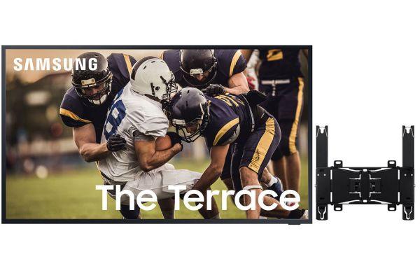 """Large image of Samsung 75"""" The Terrace Black QLED 4K UHD Outdoor Smart HDTV - SAMSPACK9"""