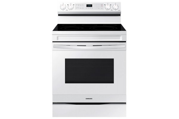 Large image of Samsung 6.3 Cu. Ft. White Smart Freestanding Electric Range With No-Preheat Air Fry & Convection - NE63A6511SW/AA