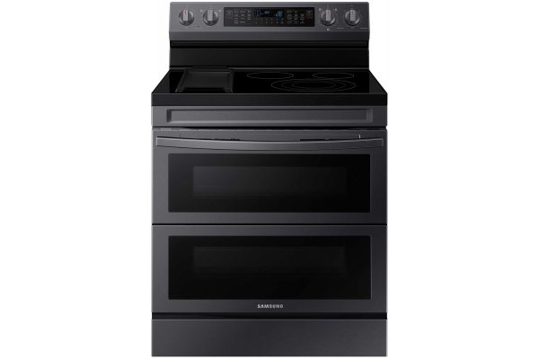 Large image of Samsung 6.3 Cu. Ft. Fingerprint Resistant Black Stainless Steel Smart Freestanding Electric Range With Flex Duo, No Preheat Air Fry & Griddle - NE63A6751SG/AA