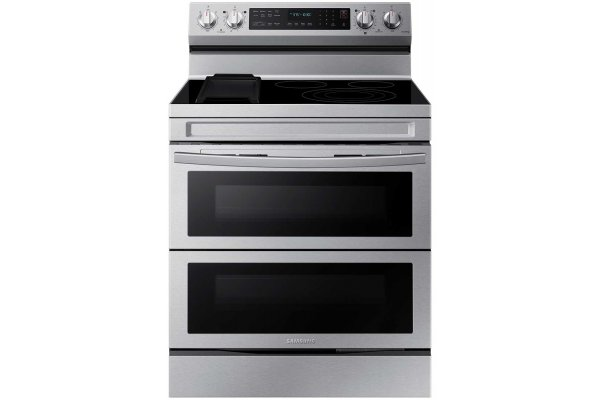 Large image of Samsung 6.3 Cu. Ft. Fingerprint Resistant Stainless Steel Smart Freestanding Electric Range With Flex Duo, No Preheat Air Fry & Griddle - NE63A6751SS/AA