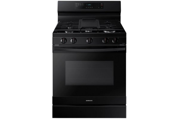 Large image of Samsung 6 Cu. Ft. Black Smart Freestanding Gas Range With No Pre-Heat Air Fry & Convection - NX60A6511SB/AA