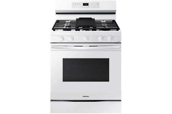 Large image of Samsung 6 Cu. Ft. White Smart Freestanding Gas Range With No Pre-Heat Air Fry & Convection - NX60A6511SW/AA