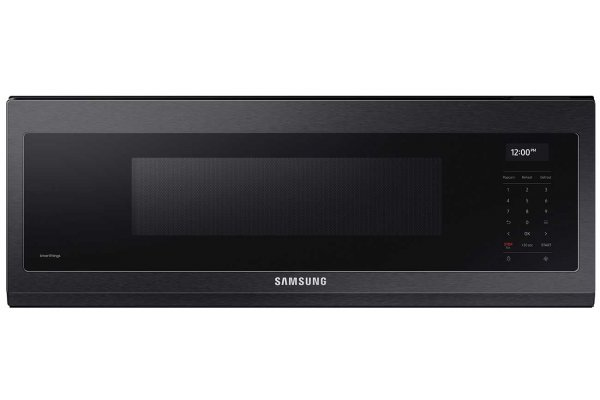 Large image of Samsung 1.1 Cu. Ft. Fingerprint Resistant Black Stainless Steel Smart SLIM Over-The-Range Microwave With 550 CFM Ventilation, Wi-Fi & Voice Control - ME11A7710DG/AA